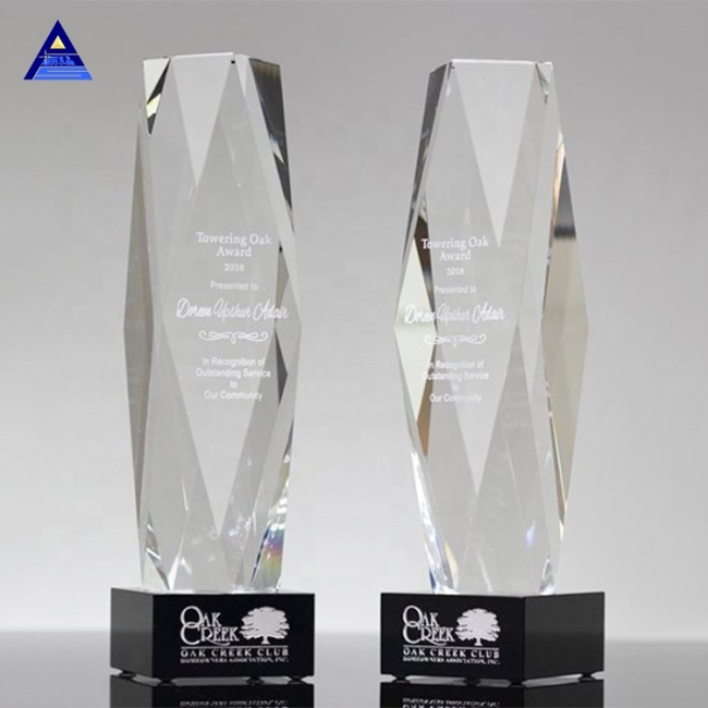 Hot Sale High Quality Obelisk Shaped Engraved Glass Award For Souvenir