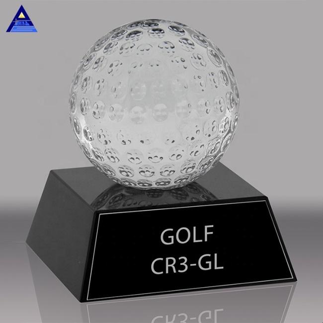 Wholesale Cheap Design Decorative Sports Souvenir Gifts Ball Crystal Golf Ball With Black Base