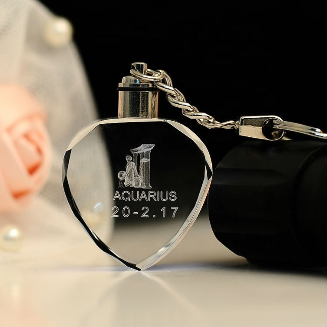 3D Laser Engraving LED Crystal Photo Rose Christmas Creative Gift Key Chain For Father'S Day Gift