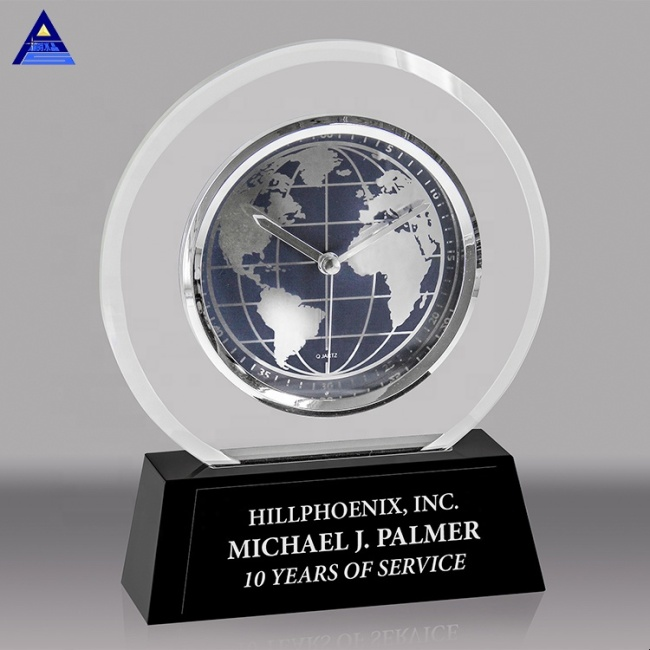 Wholesale Custom Black Base Clear World Globe Souvenir Crystal Award Trophy For Cheap Sale