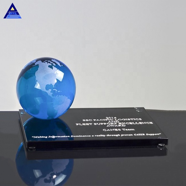 New Creative Blue Color Frosted Crystal World Globe Ball For Business Desktop Souvenirs
