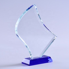 New Design Custom Cutting Flame Crystal Award Trophy With Blue Base For Successful Awards
