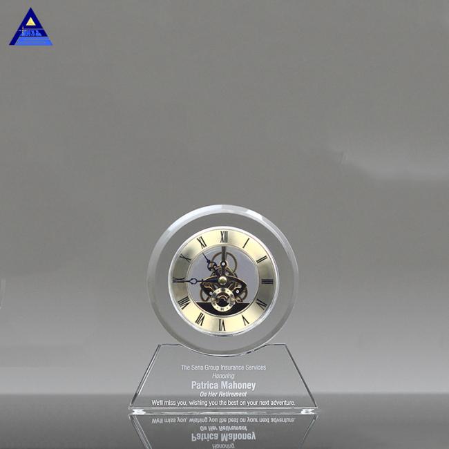 Spot Wholesale Transparent Crystal Mechanical Office Clock Custom Desk Crystal Clock For Gift