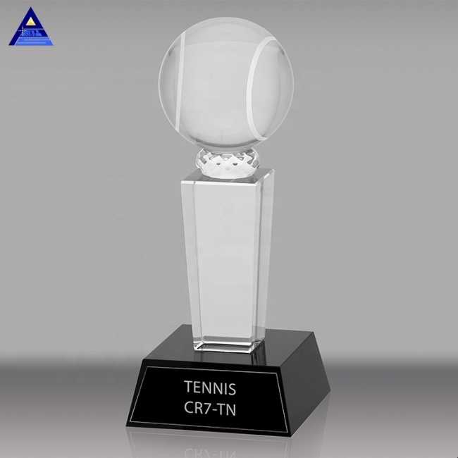 Wholesale Cheap Customized Logo Engraving K9 Crystal Glass Volleyball Trophy