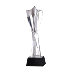 Wholesale Cheap Customized Logo Engraving K9 Crystal Glass Star Trophy With Black Base