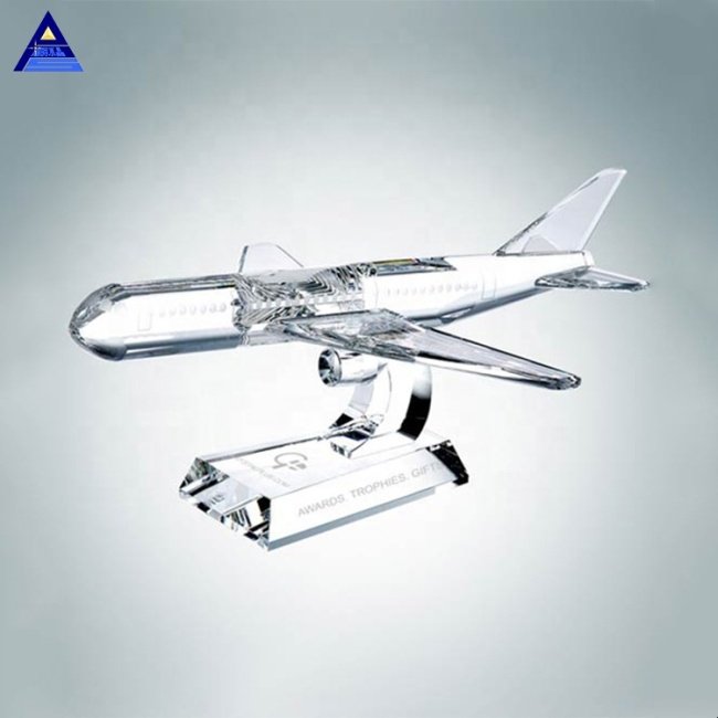 Custom Handmade 3D Clear Paperweight Crystal Airplane Award For Business Souvenirs Gift
