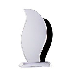 New Design Custom Clear Cutting Monument Flame Shape Blank Crystal Trophy With Base