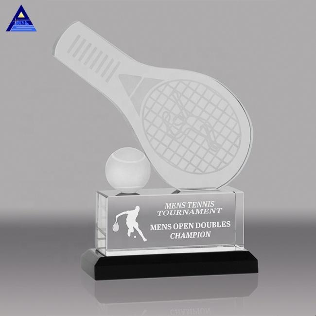 Wholesale Logo Engraving Cheap Custom Table Tennis Crystal Trophy For Souvenir
