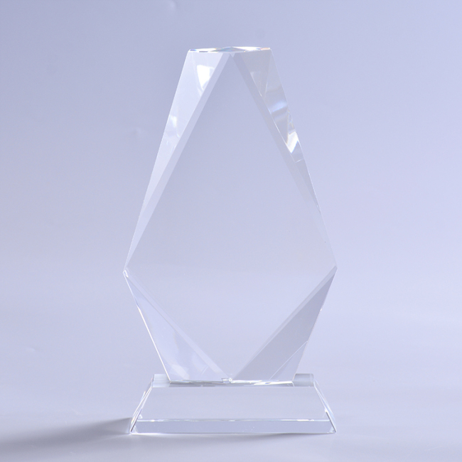 Engravable Custom Cheap Creative Quadrilateral Crystal Trophy With Clear Base