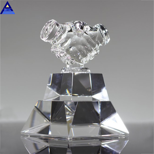 2019 Newest Crystal Handshake- -No.1 Crystal Trophy Factory
