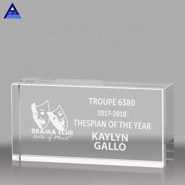 Wholesale Blank Gift Customize Colorful Transparent Glass Crystal Trophy Plaque Stand