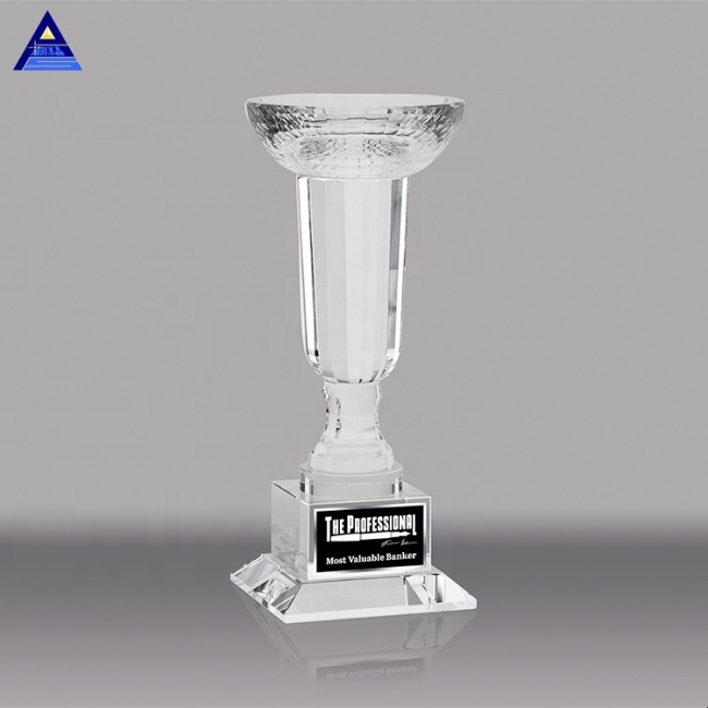 High Quality Luxury Crystal Glass Super Bowl Trophy With Base For Souvenir Decoration