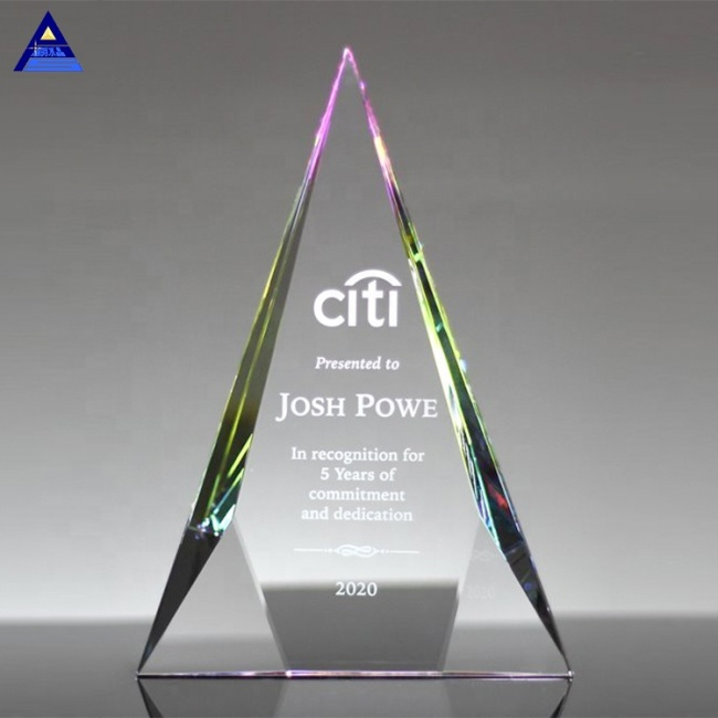 Cheap New Design Clear Customized Business Wedding Gift Plaque Prismatic Shape Crystal Trophy