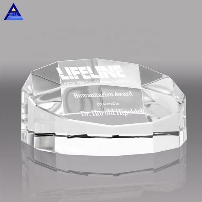 High End Round Diamond Crystal Paper Weight