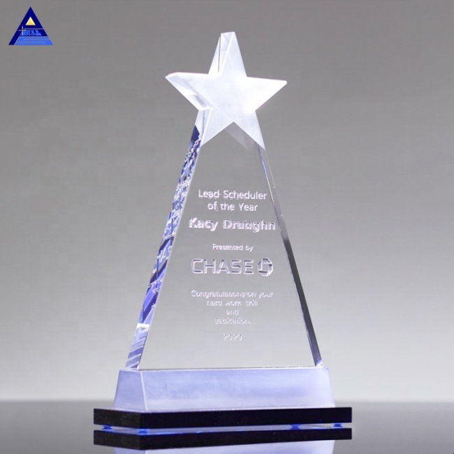 Wholesale Cheap Alya Crystal Star Trophy Awards With Black Base