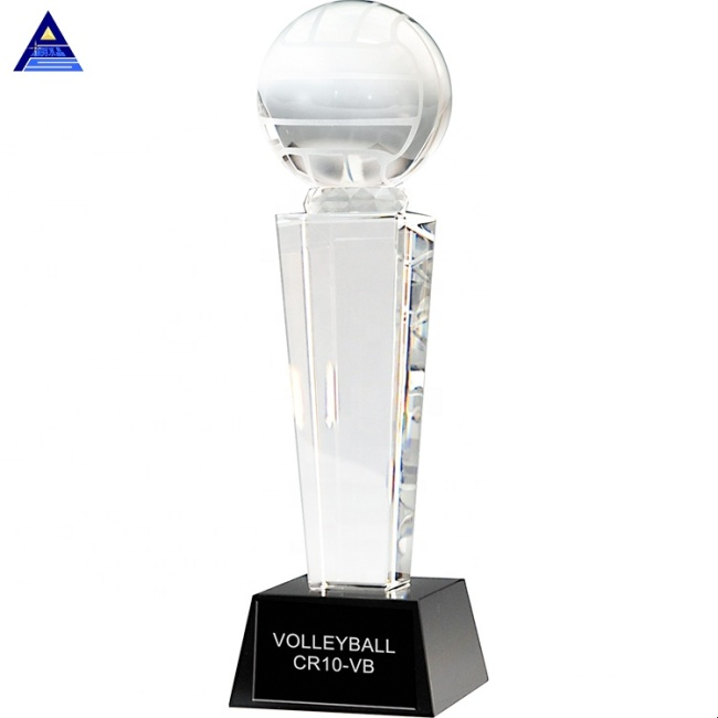 2020 Newest Crystal Award Volleyball Crystal Glass Award Trophy
