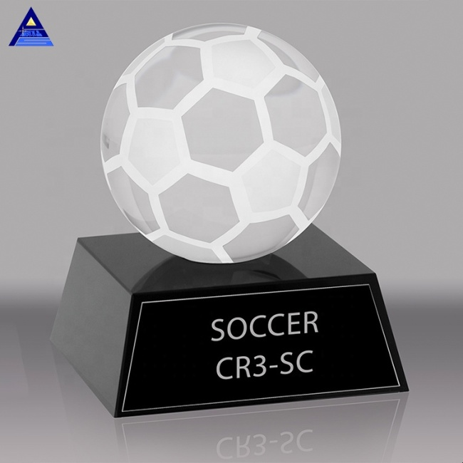 Wholesale Gifts Basketball Football Baseball Tennis  Frosted Glass Crystal Soccer Trophy