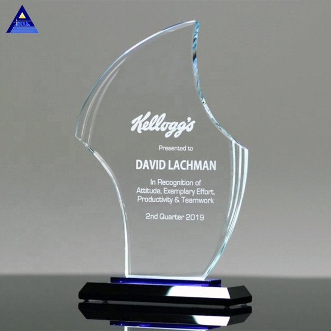 China Custom Souvenir Blank Gratitude Crystal Flame Award Trophy,Engraved Glass Awards