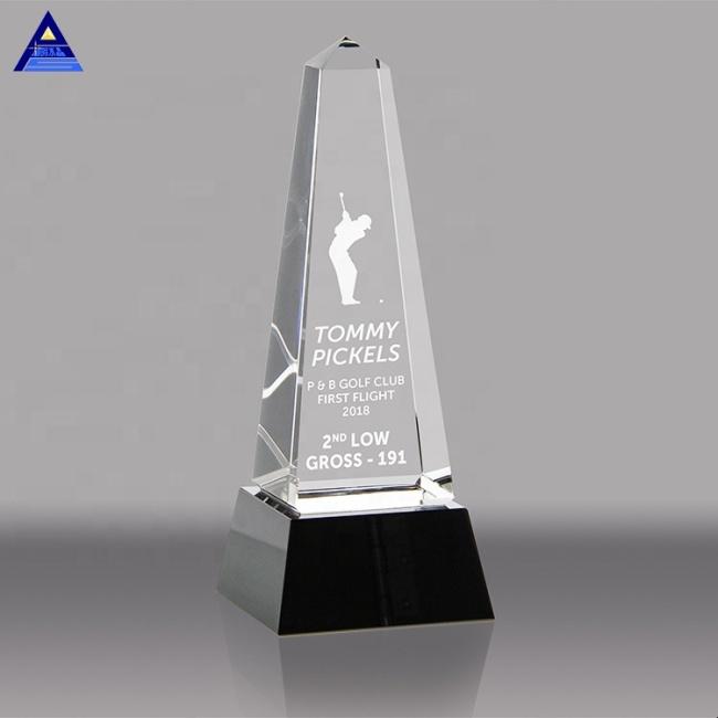 Hot Sale Manufacturer Custom New Design 3D Laser Golf Crystal Trophy Awards Wholesale Sports Trophy With Base