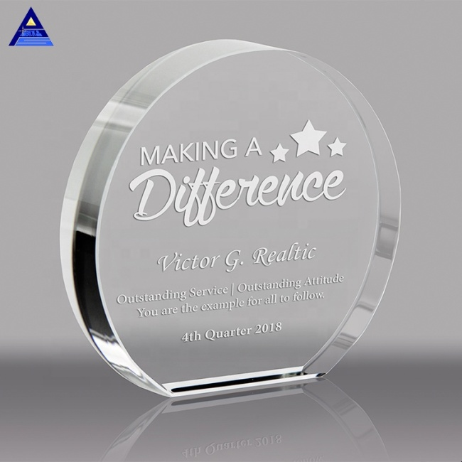 Nice Gift High Quality Custom Round Shape Crystal Paper Weight Craft For Business Gift