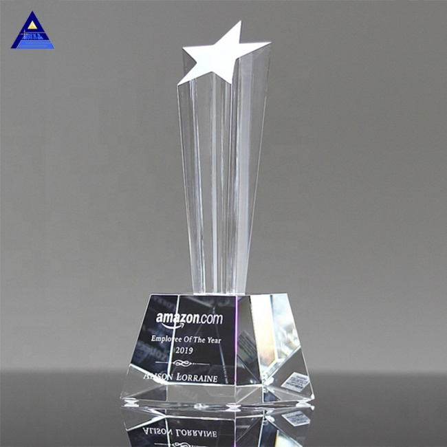 Pujiang High Quality And Beautiful Customized K9 Crystal Glass Star Trophy