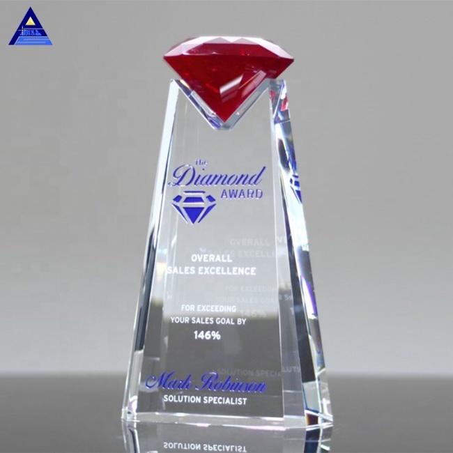 Noble Custom Made Design Essence Red Crystal Diamond Award