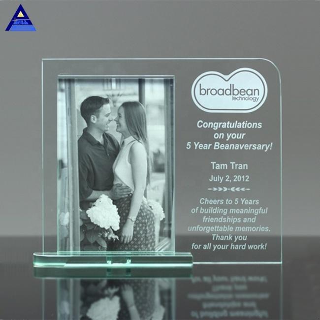 Sublimation Fancy Mainliner Glass Crystal Photo Frame Trophy For Wedding Gift