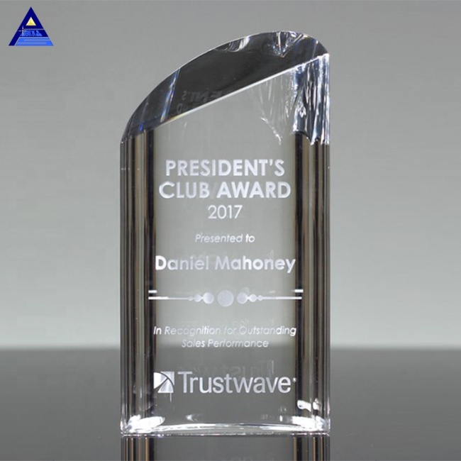 2019 Promotional Products Clear Strata Crystal Award Trophy With Logo