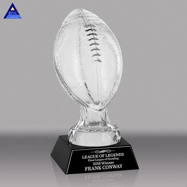 Wholesale Factory Made K9 Crystal  Fantasy Football Award Sport American Nfl Souvenir Trophy