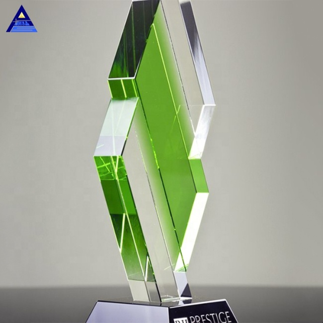 New Design Green and Clear Emerald City Trophy Unique Crystal Award