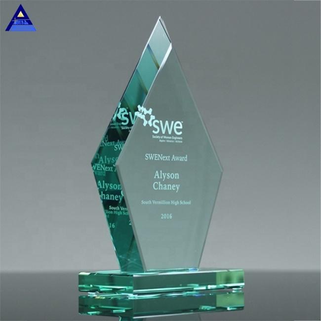 Various Size Cheap Clear Crystal Beveled Diamond Blank Jade Glass Award Trophy
