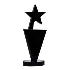 Hot Sale Simple Design Black Crystal Star Trophy Award For Corporation Souvenirs