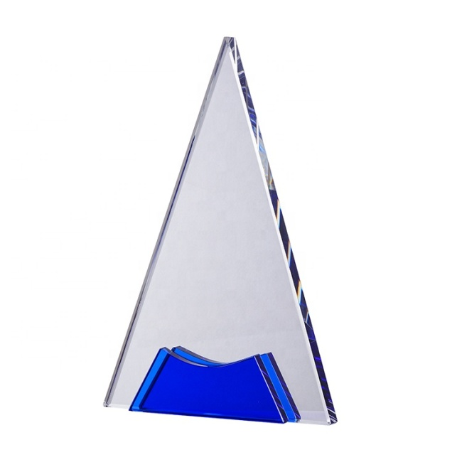 Pujiang Wholesale Custom Blue Apex Crystal Mountain Trophy Awards For Holiday Decoration