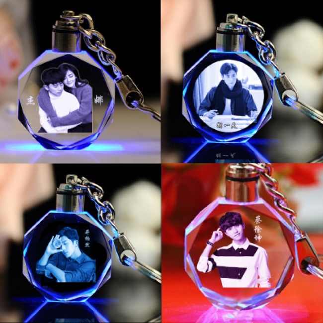 3D Laser Engraving Glass Keyring Wholesale Transparent LED Crystal Keychain