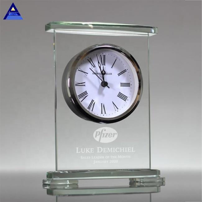 China Supplier New Design Jade Crystal Desk Clock For Souvenir Gift