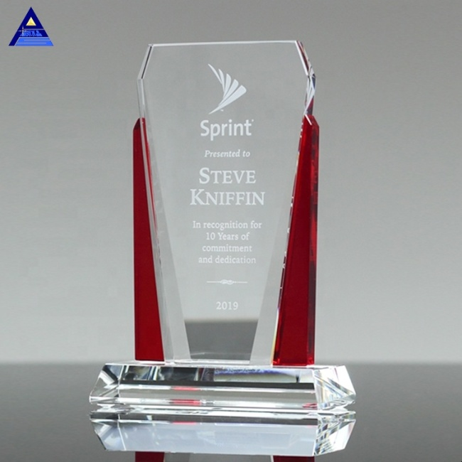 Distinction Engraved Leadership Ruby Crystal Trophy for Promotional Corporate Awards