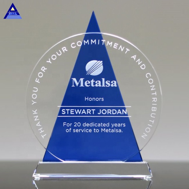 K9 Shields Round Engraved Crystal Icon Award Plaque Blue Glass Crystal Award Trophy For Souvenir Gifts