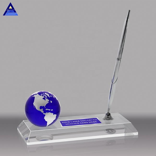 Custom Crystal Glass Mini Earth World Globe Trophy Award