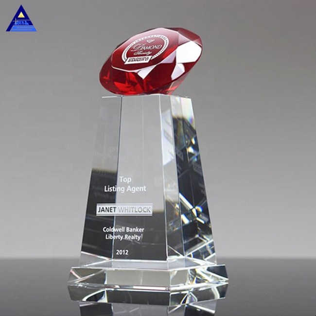 Wholesale Custom Diamond Sphere Clear Engraved Crystal Diamond With Base As Business Gifts