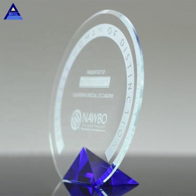 Wholesale Crystal Blue Cyrk Shield Award Diamond Sailboat Shape Crystal Award