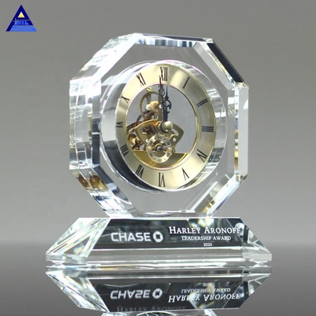 Custom Advertising Gift Table Desk Clock Executive Engraved Crystal Clock With Logo