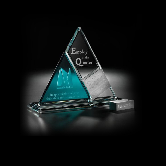 Wholesale China Trade Handmade Crystal Triangle Award Trophy For Corporate Gifts