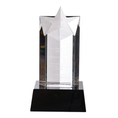 Top Selling Personalized Cheap 3D Laser Engraving Bevel Star Crystal Award Trophy