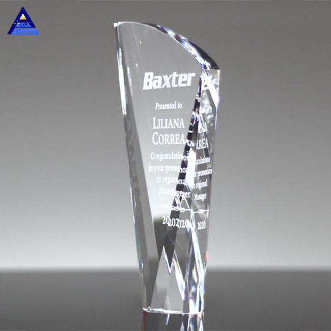 Promotional Product Custom Crystal  Flame Trophy For Cooperation Award