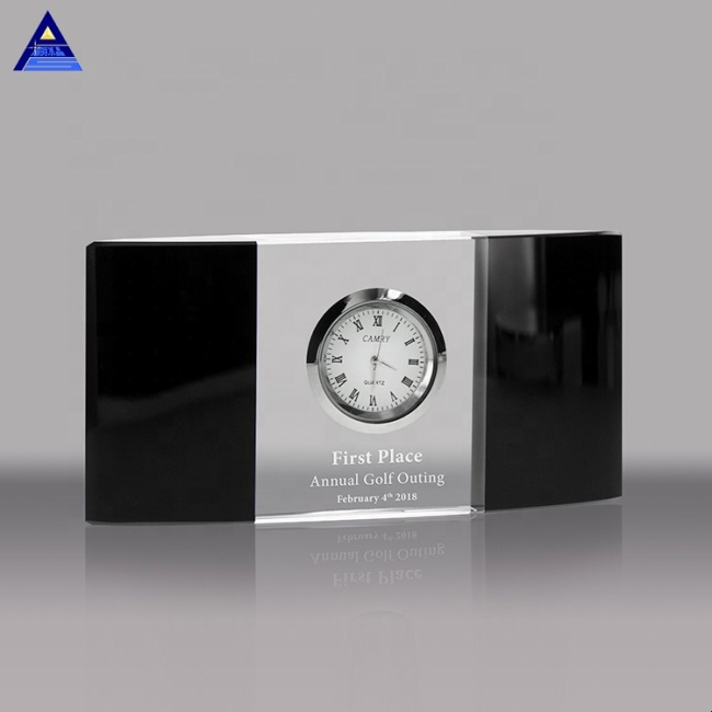Custom Design 3D Laser Engraved Rectangle Shape Crystal Clock For Decoration And Wedding Gift