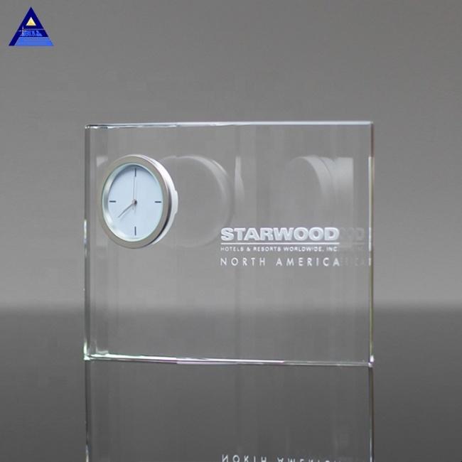 Wholesale Customer Design Transparent Optical Decorative Crystal Clock For Office Use
