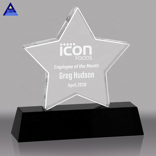 Custom New Design Engraved Crystal Star Trophy Plaque Corporate Anniversary Award Gift