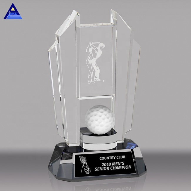 Best Selling New Design Custom 3D Crystal Glass Golf Trophies For Sports Souvenir Gift