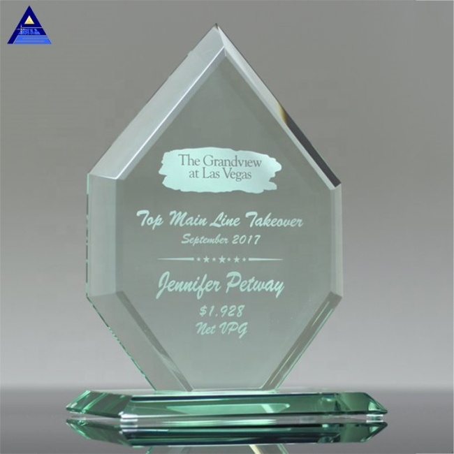 Customised New Liberty Diamond Jade Crystal Glass Trophy