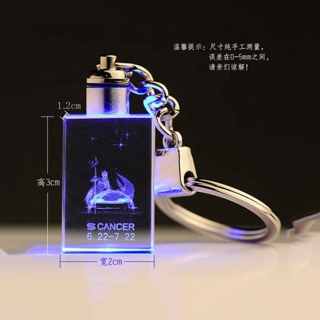Wholesale Custom Cheap Gift Wedding Favors 3D Crystal Keychain with LED
